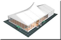 Großraum-Partyzelt mit Pagodendach